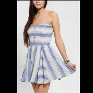 Small LUCCA COUTURE strapless linen stripe dress
